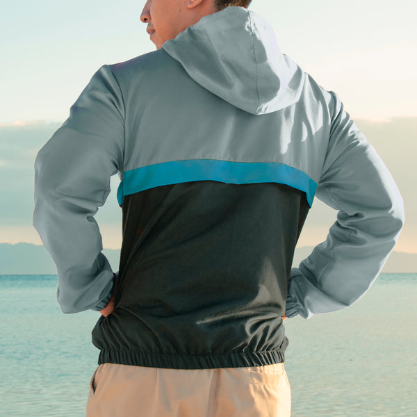 Rainfall Windbreaker (Light Gray, Teal, Black)
