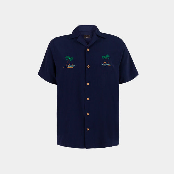 Oasis Cuban Shirt (Navy Blue)