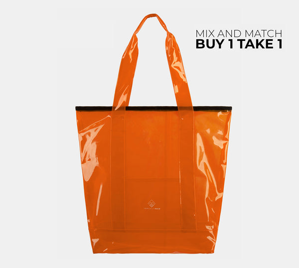 Departure Point Zipped Tote Bag (Neon Orange)