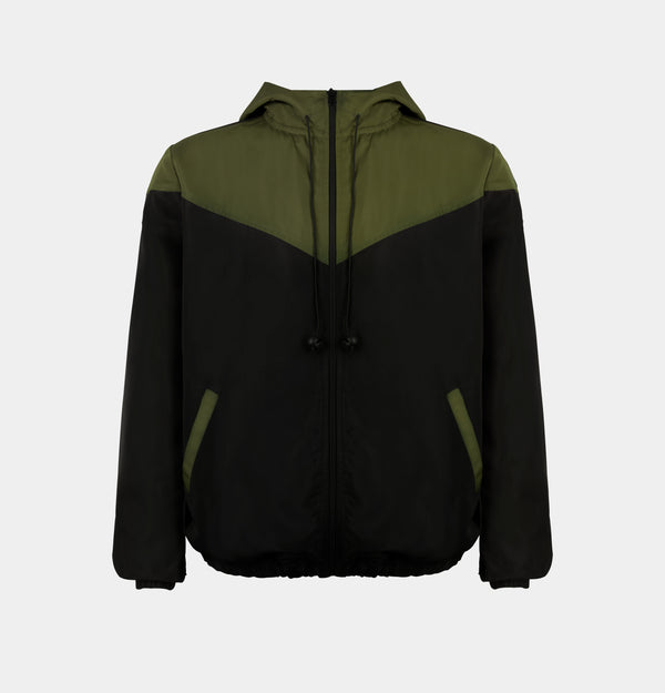 Summit Colorblock Windbreaker (Army Green, Black)