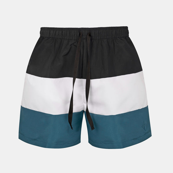 Sailor Swim Shorts (Black, White, Teal)