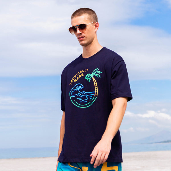 Oversized Neon Summer Tee (Navy Blue)