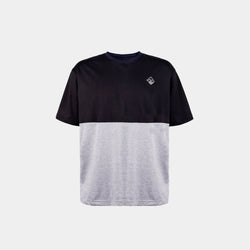 Oversized Two Tone Colorblock Tropically Made Logo T-Shirt (Black, Gray)