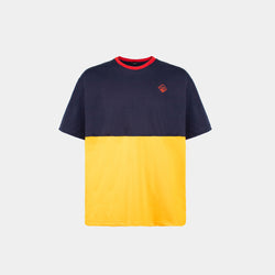 Oversized Two Tone Colorblock Tropically Made Logo T-Shirt (Blue,Yellow)