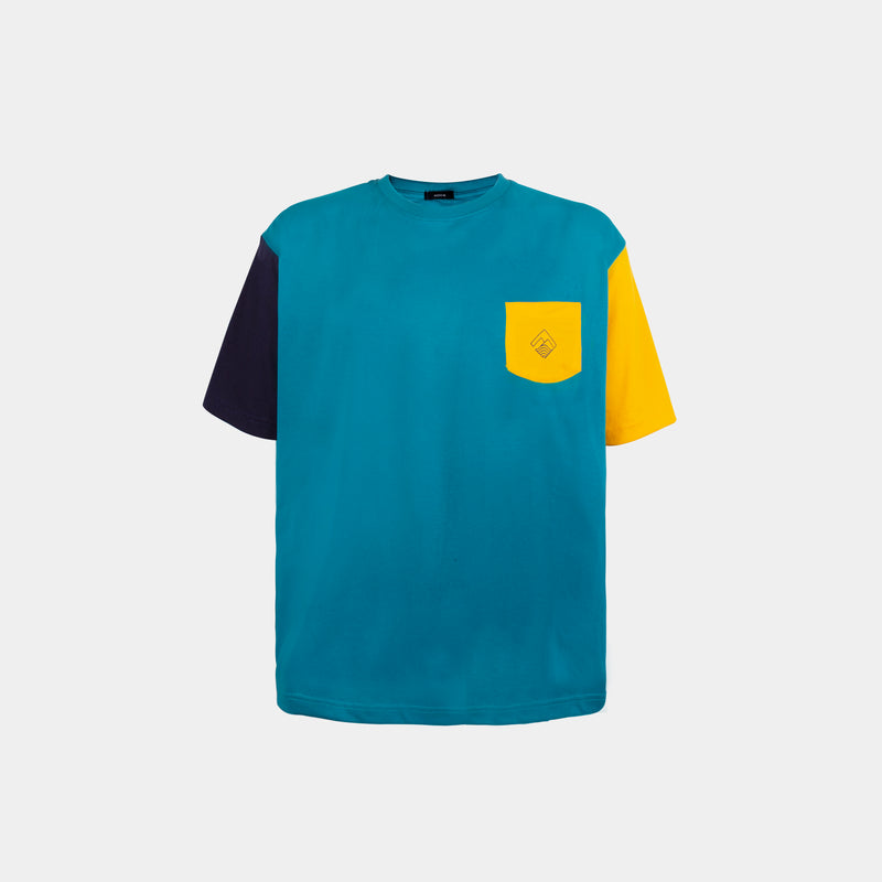 Oversized Colorblock Tropically Made Logo T-Shirt (Teal, Navy Blue, Yellow)