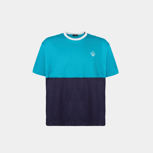 Oversized Two Tone Colorblock Tropically Made Logo T-Shirt (Teal, Navy Blue)