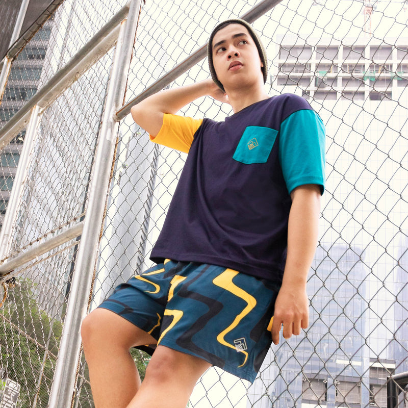 Oversized Colorblock Tropically Made Logo T-Shirt (Navy Blue, Teal, Yellow)