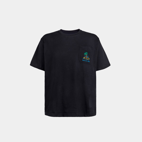 Oversized Vivid Summer Pocket Tee (Black)