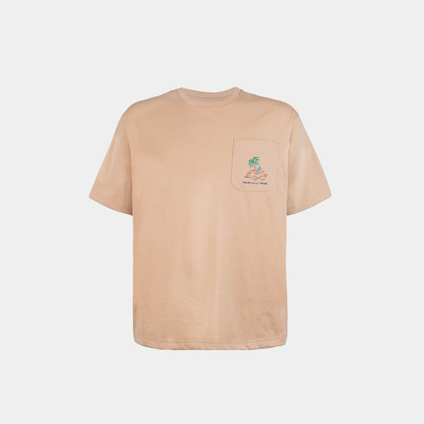 Oversized Vivid Summer Pocket Tee (Light Khaki)