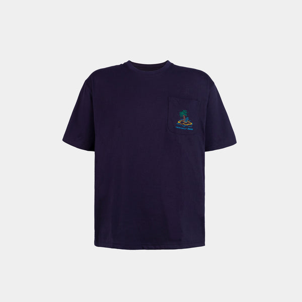 Oversized Vivid Summer Pocket Tee (Navy Blue)