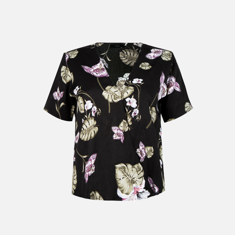 Sunday Printed Wrap Blouse (Black)