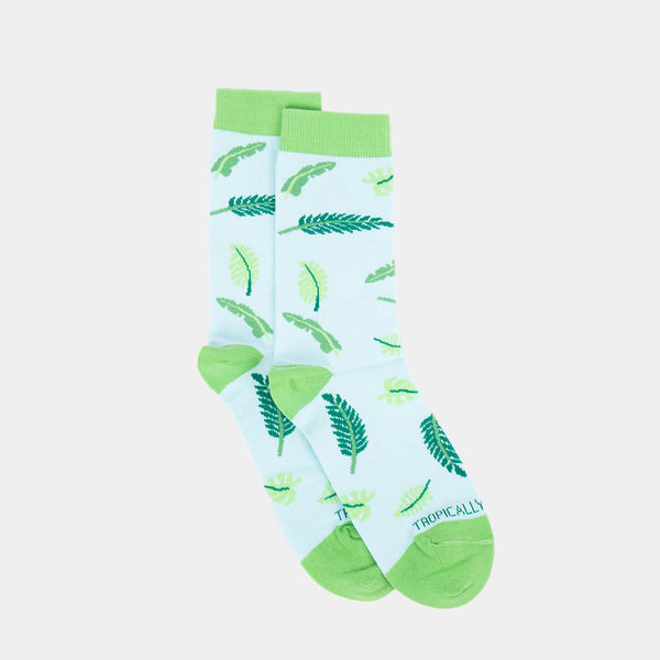 Patterned Socks (Palmera Leaves, Light Green)