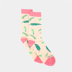 Patterned Socks (Palmera Leaves, Peach)