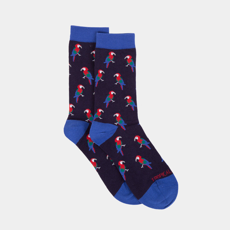 Patterned Socks (Parrots Navy Blue)
