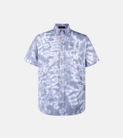 Vibes Tie Dye Button Down Shirt (Navy Blue)