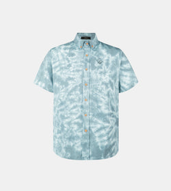 Vibes Tie Dye Button Down Shirt (Green)
