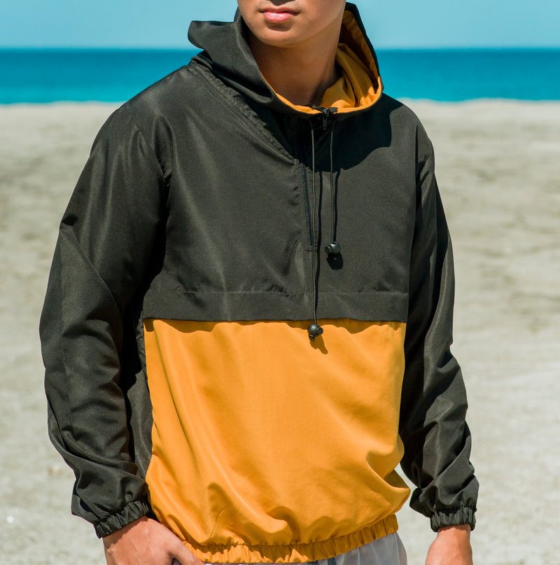 Frontier Color Block Anorak (Black, Mustard)