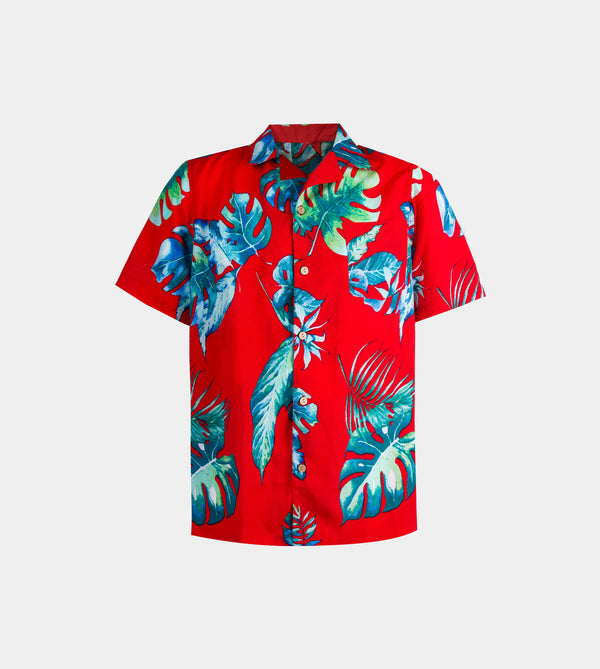 Tropics Cuban Shirt (Paradise, Red)