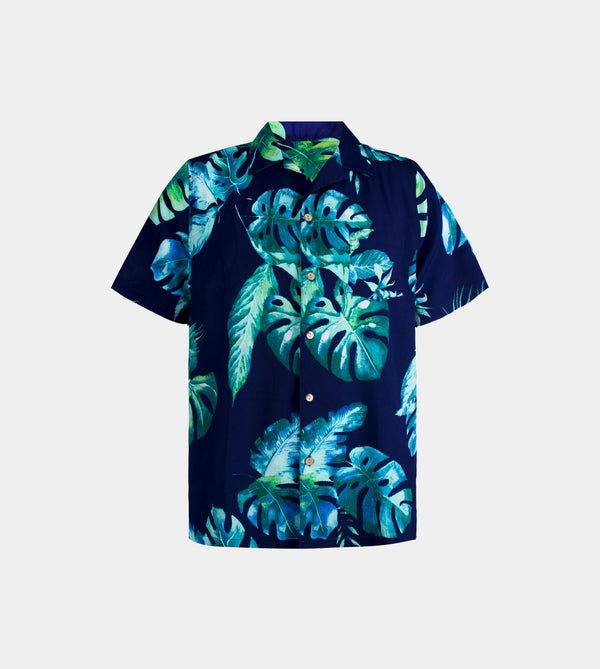 Tropics Cuban Shirt (Paradise, Navy Blue)