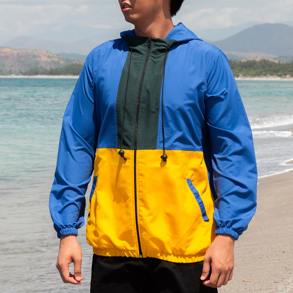 Borderline Tricolor Windbreaker (Royal Blue,Green,Yellow)