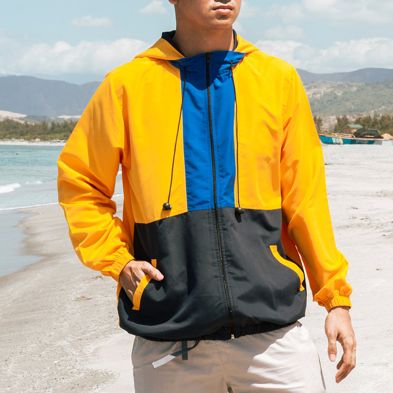 Borderline Tricolor Windbreaker (Yellow,Royal Blue,Navy Blue)
