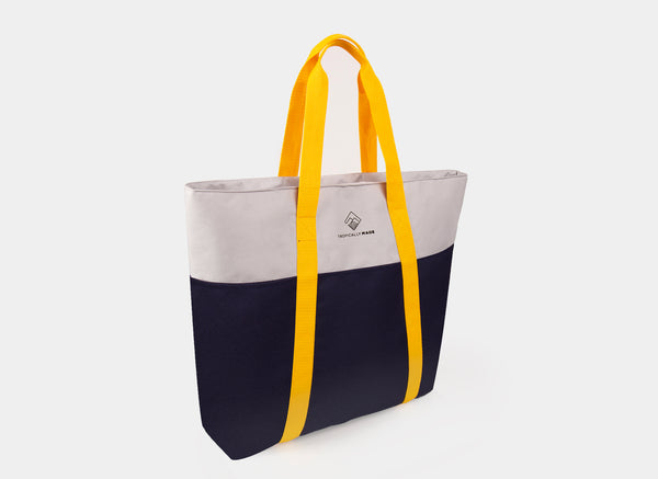 Weekend Tricolor Tote Bag (Light Gray)