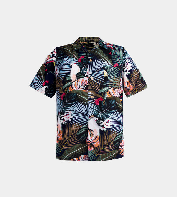 Tropics Cuban Shirt (Utopia, Navy Blue)