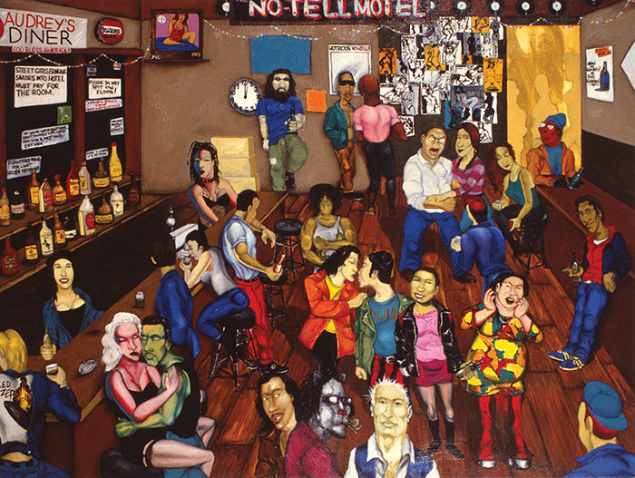 No Tell Motel, Oil on Canvas, 1994, 54ʺ × 72ʺ Collection of Miguel Linares