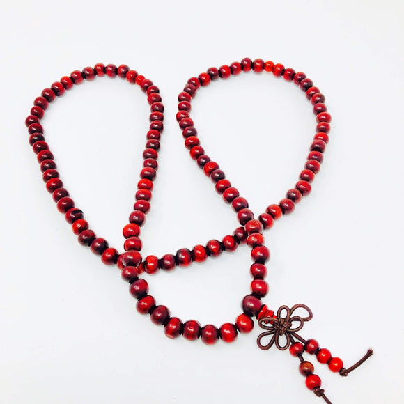 Simple Stretch Cord Red Bead Mala (Meditation Beads)