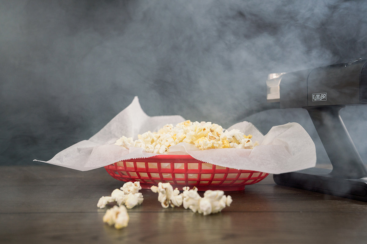 Smoked Popcorn on Cutting Board