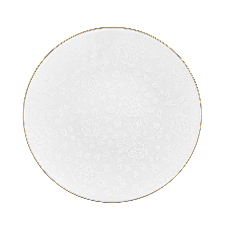 CHARDONS blanc sur blanc Filet Or - Assiette 29 cm