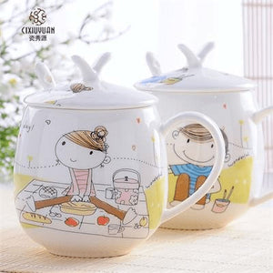 2Pcs/set Girl And Boy Coffee Mug