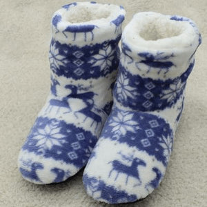 Blue Christmas Slippers