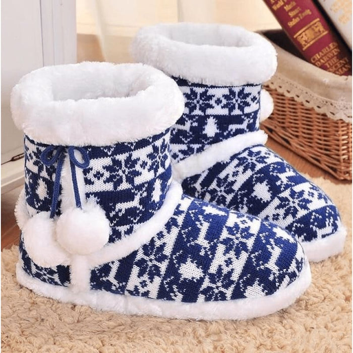 Blue Snowflakes Slippers