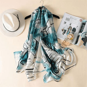 Blue/white Silk Scarf