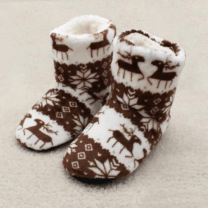 Brown Christmas Slippers