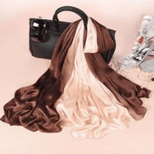 Brown/beige Silk Scarf