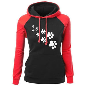 Cat Paws Hoodie - Red / S