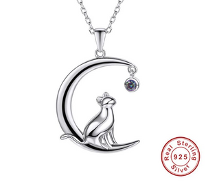925 Sterling Silver Cat Moon Necklace