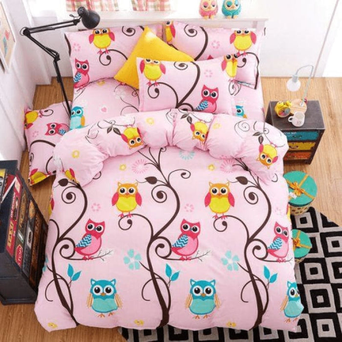 Colorful Owl Bedding Set Comforter in King Queen Double and Twin size