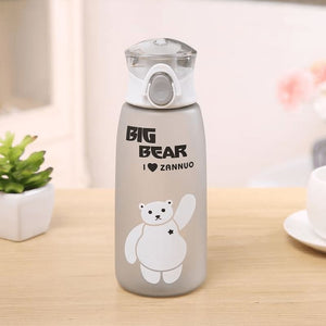 Cute Bear Water Bottle - Light Grey