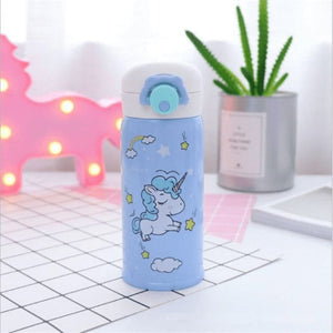 Cute Unicorn Water Bottle - Blue