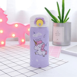 Cute Unicorn Water Bottle - Purple