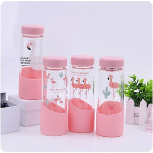 Flamingo Glass Water Bottle