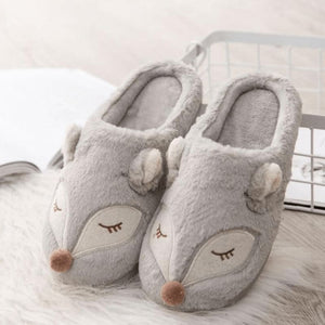 Grey Deer Slippers