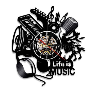 Life Is Music Vinyl Clock - Without Led