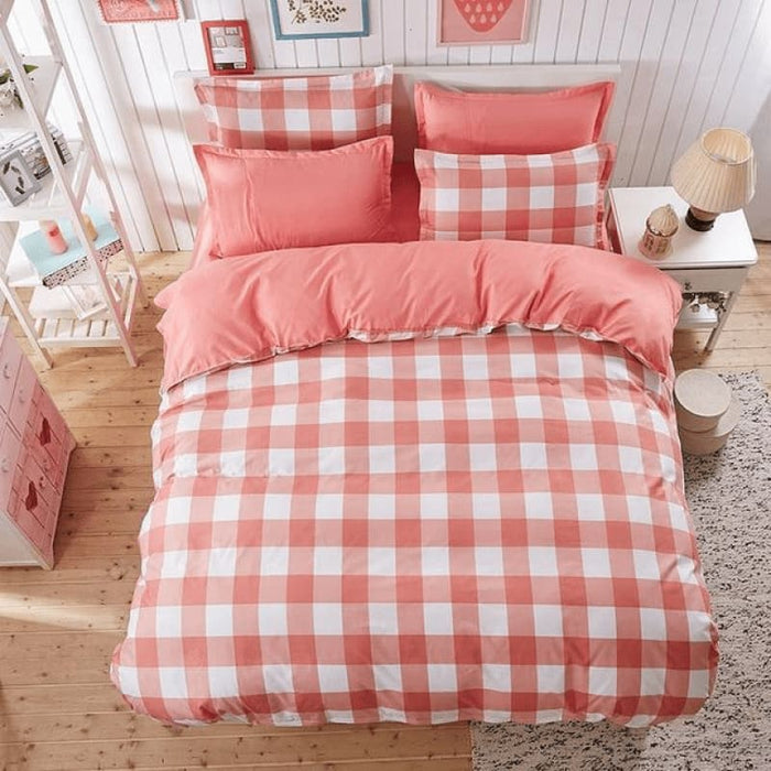 Pink/White Bedding Set Comforter in King Queen Double and Twin size