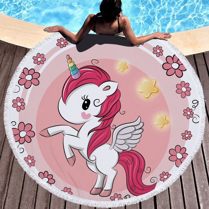 Pink Unicorn Beach Towel