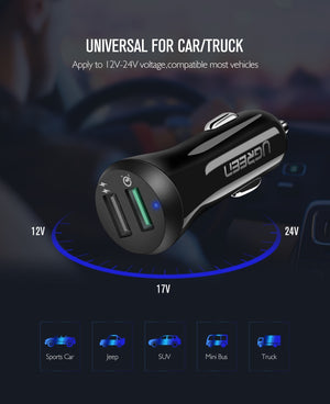 Ugreen Car USB Charger Quick Charge 3.0 Dual USB
