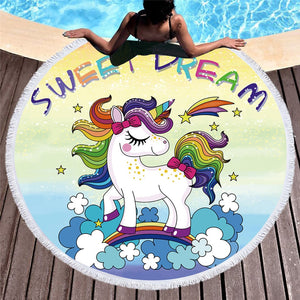 Sweet Dream Unicorn Beach Towel